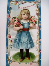 Vintage Victorian Bookmark Has A Die Cut Girl Pasted on Front w/ Ad on Back *