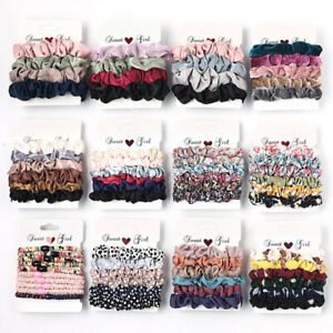 6Pcs Fashion Hair Rope Elastic Ties Ponytail Rubber Band Scrunchie Accesories