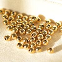 100 PCS 3MM Solid 14K Yellow Gold / Perfect DIY Bead Pendant Or Bracelet