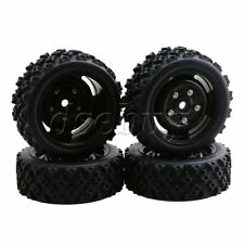4PCS RC Products 1/10 Rally Car 12mm Black Wheels Hex Plum Pattern Rubber Tire