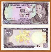 Colombia, 50 Pesos Oro, 1986, P-425 (425b), UNC > Orchids