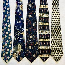 5 Men's Ties Golf Sports Club Ball Course Tee Player Golfing Poly Silk Tie Lot