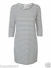 NEW LADIES VERO MODA WHITE/BLACK STRIPED 3/4 SLEEVED DRESS SIZE LARGE UK 14