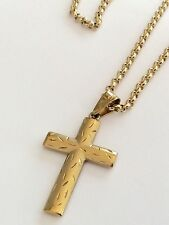 Lovely Quality Hallmarked Vintage 9Ct Gold Satin Finish Cross On 9Ct Chain