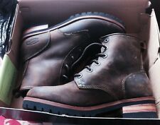 NEW SKECHERS WMNS Size 11 Dk BROWN Leather Work Boots Lace Up Lug Sole LARAMIE