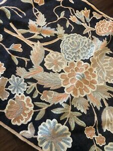 Stunning Vtg Floral Handmade Wool Blend Chain Stitch Cotton Back Rug 2' X 3'