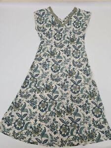 East for Anokhi Long Dress UK 12 Indian Cotton Bias Cut  Ethnic Bohemian Floral