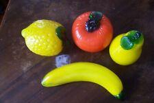 4 Pieces Art Glass Fruit Lemon Banana Orange Pear