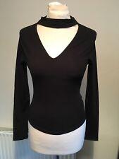 LOOK Womens Loop Top UK 6 Black Long Sleeve Crop Smart Cotton Rich