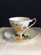"Vtg Elizabethan Fine Bone China Teacup & Saucer By Taylor & Kent ""Yellow Rose"""