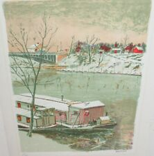 LUCIEN ARDENNE RIVER BARGE LIMITED EDITION COLOR LITHOGRAPH WITH C.O.A.