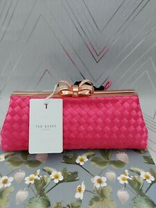 TED BAKER ALAINA Bow Evening Clutch Bag Pink New With Defect