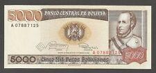 Bolivia 5,000 Bolivianos 1984; UNC, P-168; Leopard, Condor; Printed in Germany