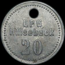 """LPG-GELD: Wertmarke """"20"""". LPG GLÜCK AUF HÜLSEBECK / BRANDENBURG ⇒ PIROW."""