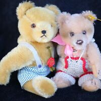 Brother & Sister Antique Steiff & Hermann Teddy Bear w Doll Dress Top Mohair 🎀