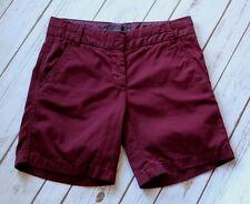 "J Crew Chino Shorts Women 00 XXS 7"" Inseam 100% Cotton Wine Merlot Flat Front"