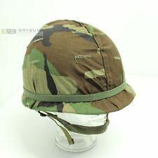 US M1 Combat Steel Helmet with Liner & Woodland Camouflage Cover - Original