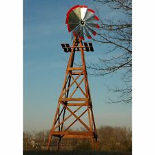 Decorative 13 ft. Wood Backyard Windmill with Red Tips, Silver, Large
