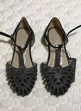 sandals for girl size 2 black suede with glitter Bebe