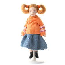 Girl Doll Wearing Orange Jumper, Dolls House Miniatures, Doll Female Girl