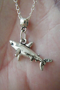"""GREAT WHITE SHARK Necklace Tibet Silver JAWS! Charm 19"""" Silver Plate Chain NEW!"""