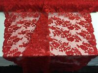 Embroidered Lace fabric Red - Flower Corded Mesh Bridal-Wedding By The Yard