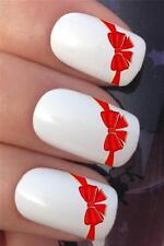 I trasferimenti di acqua per unghie red ribbon Fiocchi French Punte Tattoo Decalcomanie Adesivi * 621