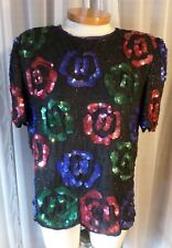 Vintage Lady Large Silk Blouse Top Woman L Black Bead Sequin Blue Red Green 12