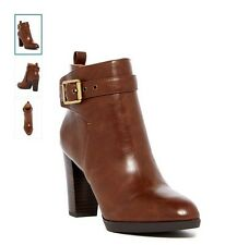 Franco Sarto Tan Ankle Boots Booties Block Heel Side Zipper Size 11 NWT