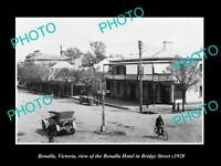 OLD LARGE HISTORIC PHOTO OF BENALLA VICTORIA, VIEW OF HOTEL & BRIDGE St c1920