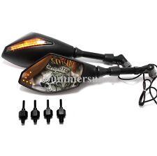 MATTE BLACK LED TURN SIGNAL Motorcycle Cruiser MIRRORS For Harley Touring Smoke
