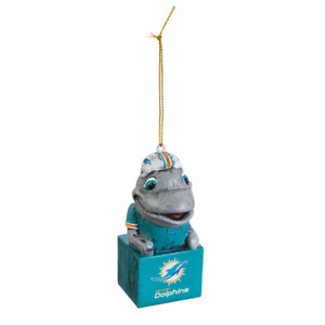 Miami Dolphins Mascot Tiki Totem Christmas Ornament NFL