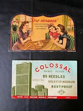 """2 Vtg Sewing Needle Cardboard Cases """" Colossal & One Hundred"""""""