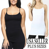 Women's Basic Spaghetti Strap Cami Camisole Long Tank Top PLUS 1XL-2XL-3XL
