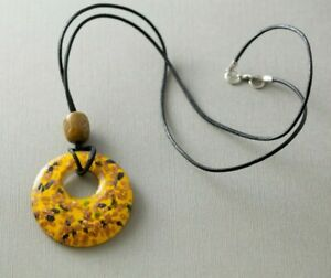 "Yellow Black & Gold Glitter Glass Pendant 26"" Necklace"