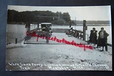 WHITE LAKE FERRY looking across to OLD CHANNEL TRAIL Montague MI, RPPC postcard