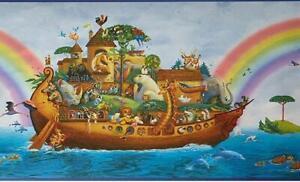 Wallpaper Border Noah's Ark Animal Rainbow Border