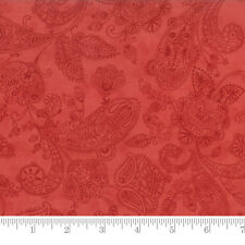 Moda Fabric Snowfall Prints Paisley Toile Poinsettia Red - Per 1/4 Metre