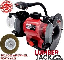 """8"""" Bench Grinder Professional Twin Wheel with Light and Dressing Tool Lumberjack"""