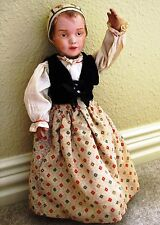 "antique Schoenhut ~17"" Wooden Bonnet Head Doll - brown eyes; 1911 Us - original"