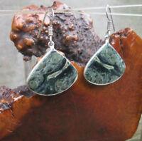 "African Kambaba Jasper 925 Sterling Silver Layered/Plated Dangle Earrings 1.9"""