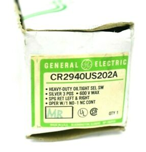 General Electric CR2940US202A 3 Position Selector Switch 600V Max