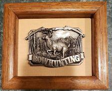 Vintage 1984 Framed Pewter Deer Bow Hunting Belt Buckle. New