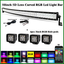 "50"" LED Curved Light Bar RGB Strobe Bluetooth CREE 5D Lens + 4X 3"" RGB Halo Pods"