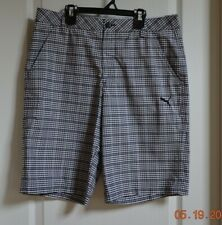 New Puma Golf DryCell Black Plaid Casual Golf Shorts Men's  size 34