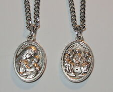 "Lady of Good Counsel & Holy Trinity Religious Medal on 24"" Stainless Steel Chain"