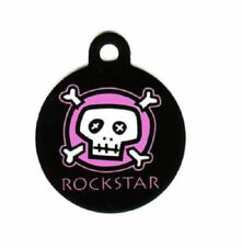 Engraved Pet ID Tag Round Pink Skull Rockstar! Unique!