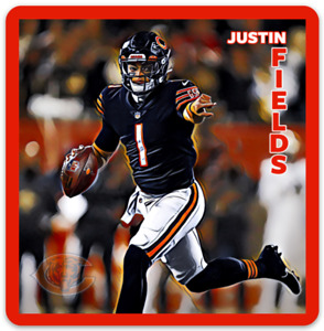 Justin Fields Chicago Bears Character Rendering NFL Football MAGNET