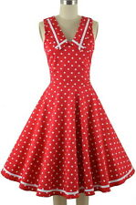 50s Style RED with White Polka Dots NAUTICAL SAILOR Fit-N-Flare PINUP Sun Dress