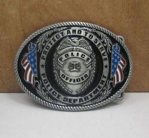 Gürtelschnalle Buckle für Gürtel bis 4 cm Breite Metall tolle Details Police